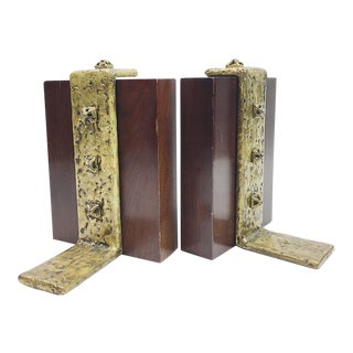 Vintage Brutalist Wood and Brass Bookends - A Pair