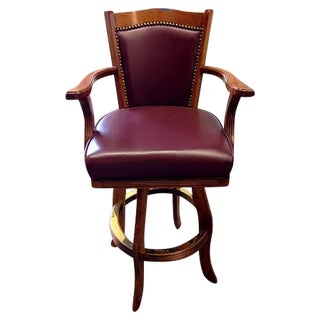 Wooden Bar Stool With Maroon Seat