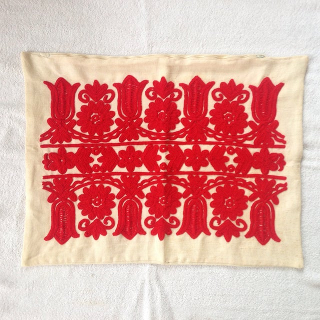 Vintage Red Embroidered Linen Pillowcase - Image 2 of 6