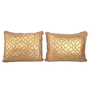 R. Lusk Designs Gold Hand Painted Pillows - a Pair