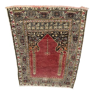 "Antique Turkish Anatolian Prayer Rug - 2'9"" x 3'8"""