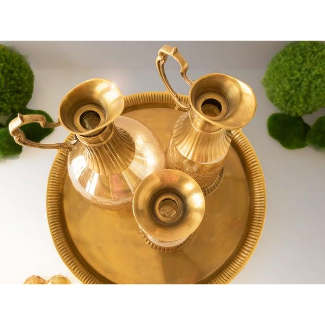Vintage Brass & Iridescent Amber Crystal Decanter Set - Image 6 of 8
