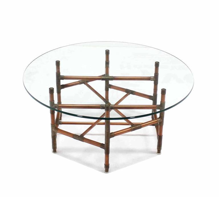 Copper Pipe And Fitting Sculpture Base Round Glass Top Coffee Table   Image  6 Of 6