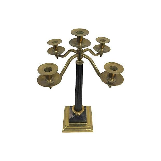 Image of Brass and Marble Five Arm Candelabra