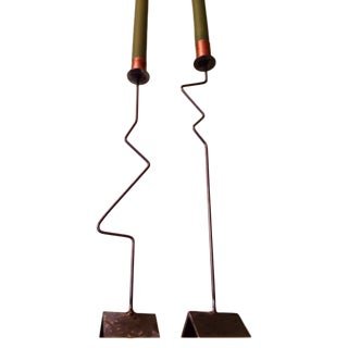 Industrial Metal Art Candle Sticks - Pair