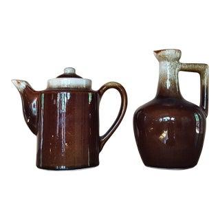 Rustic Pottery Teapot & Jug