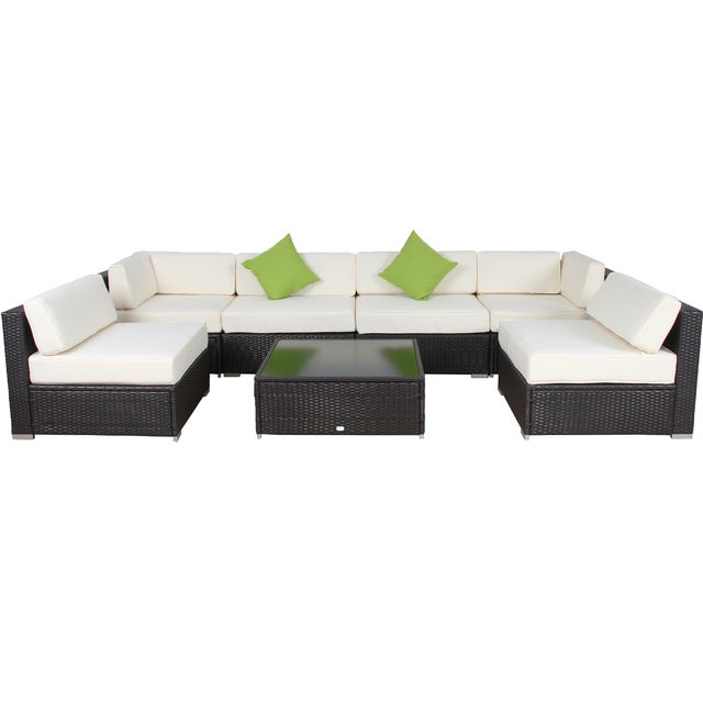 Modern Patio Rattan Sectional - Set of 7 - Image 1 of 7