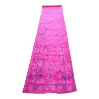 Overdyed Pink Persian Runner Rug - 2.6' x 12'