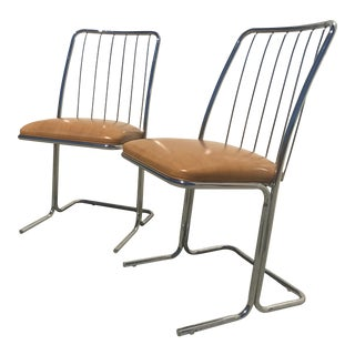 Vintage Daystrom Mid Century Modern Tubular Structure Chrome Chairs - A Pair