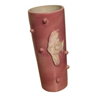 Vintage Pottery Fish Motif Vase