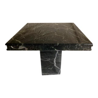 2-Piece Vintage Black Marble Pedestal Coffee Table