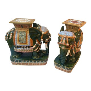 Vintage Vietnamese Porcelain Elephant Garden Stools - A Pair