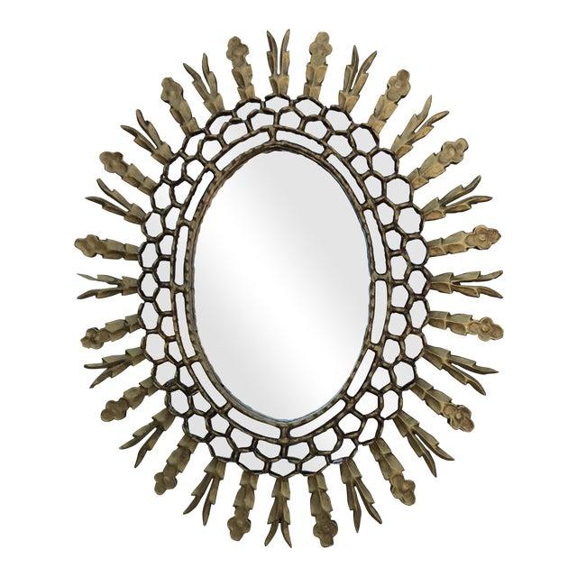 Spanish Gilt Wood Sunburst Mirror - Image 1 of 7