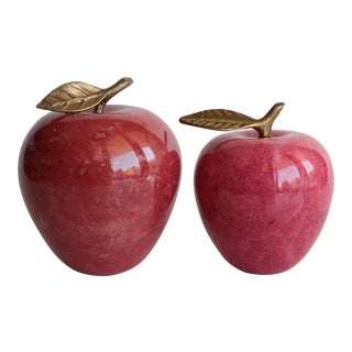 Alabaster and Brass Stone Apples - Set of 2