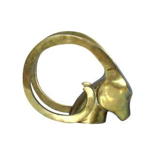 Hollywood Regency Brass Antelope Horns Sculpture