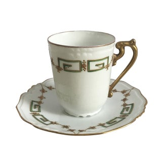 Antique Green, Gold & White Teacup & Saucer