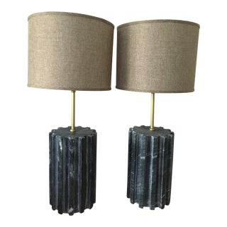 Black Marble Modern Table Lamps - a Pair