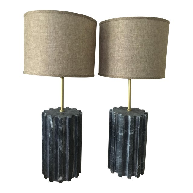 Black Marble Modern Table Lamps - a Pair - Image 1 of 7