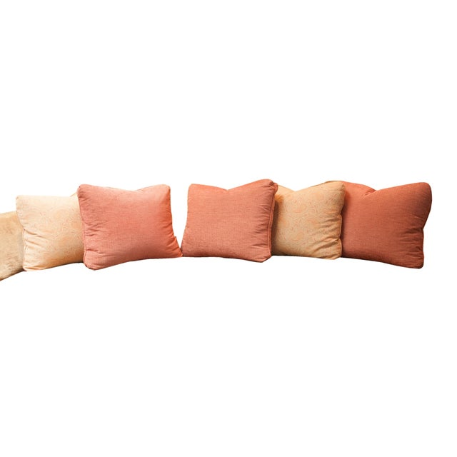 Designer Fabric Orange & Coral Pillows - Set of 5 - Image 1 of 4