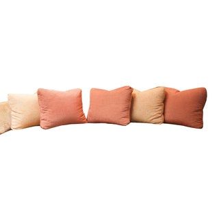 Designer Fabric Orange & Coral Pillows - Set of 5