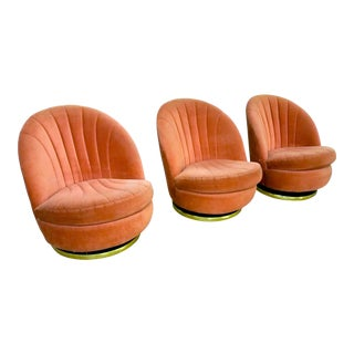 Milo Baughman Clam Shell Swivel Chairs - Set of 3