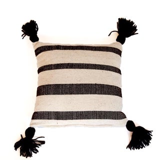 Mexican Wool White & Brown Striped Throw Pillow