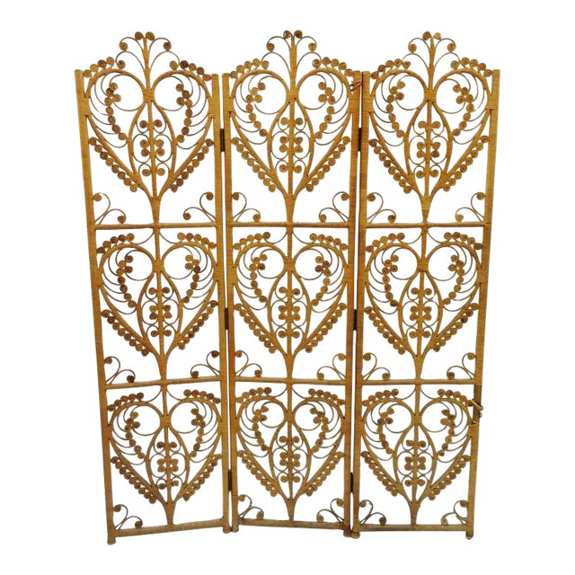 Bohemian Woven Wicker Screen - Image 1 of 8