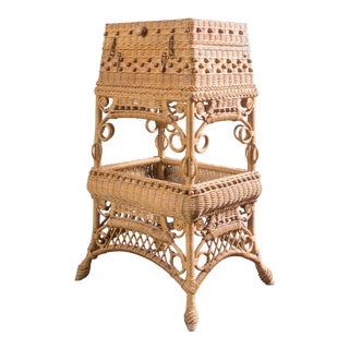 Antique Wicker Sewing Basket Table