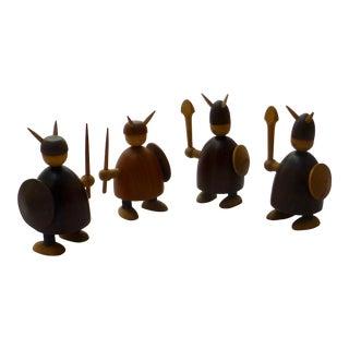Jacob Jensen Danish Modern Teak & Rosewood Viking Army - Set of 4