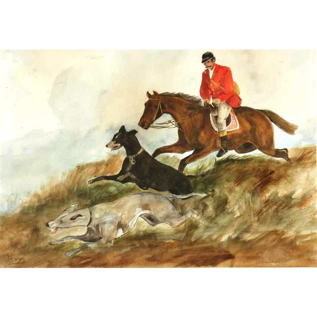 "Image of C. 1950 Vintage Watercolor, ""The Fox Hunt"""