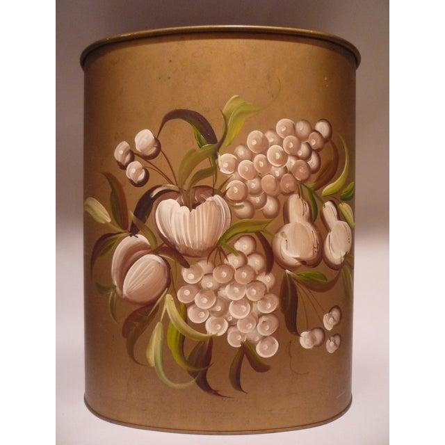 Vintage Janis Pilgrim Tole-Painted Wastebasket - Image 2 of 5