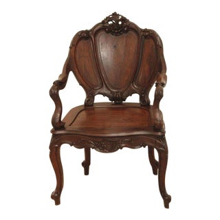 Louis XV Style Continental Rosewood Armchair