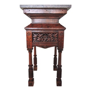 Carved Ottoman Pedestal Side Table