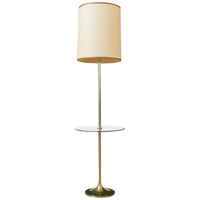 mid century laurel floor lamp w side table chairish. Black Bedroom Furniture Sets. Home Design Ideas