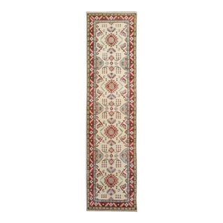 "Kazak Garish Mervin Ivory Red Wool Rug - 2'8"" x 9'8"""