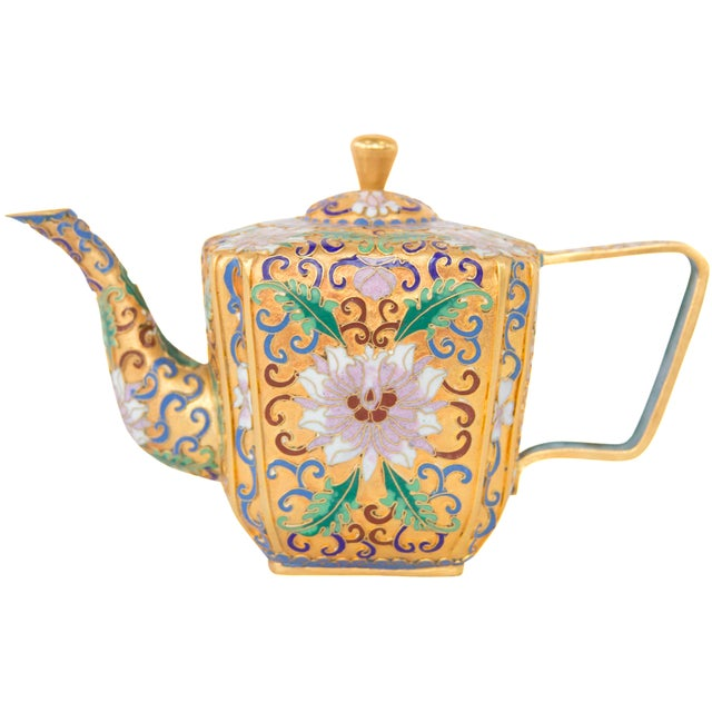 Chinese Champleve Enamel Teapot - Image 1 of 6