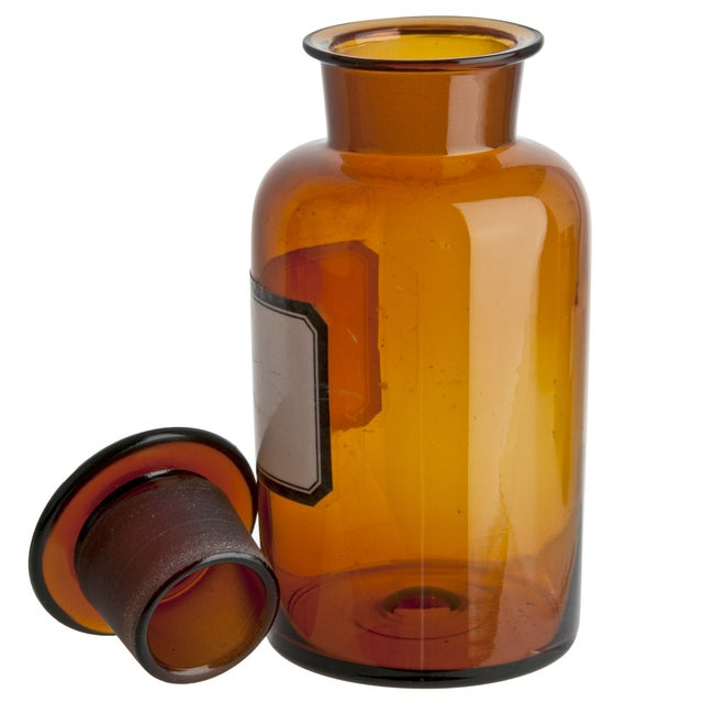 Image of Vintage German Amber Glass Apothecary Bottle