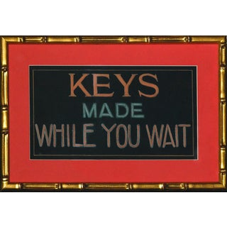 """Keys Made While You Wait"" Pastel & Gouache Original Sign in Gilt Bamboo Frame!~"