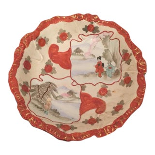 Chinoiserie Porcelain Bowl with Japanese Geisha Design