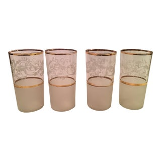 Mid-Century Frosted Highball Glasses - Set of 4