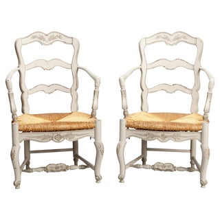 Vintage Pair of French Carved Wood Armchairs W/ Rush Seats