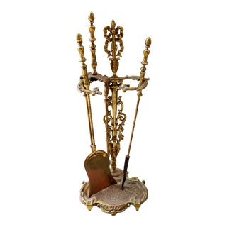 Ornate Solid Brass Fireplace Tools with Stand - Set of 4