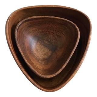 Modern Triangular Nested Wooden Bowls - A Pair