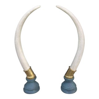 Brass Hollywood Regency Faux Elephant Tusks - a Pair