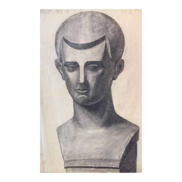 Vintage Charcoal Portrait Drawing - Image 1 of 5