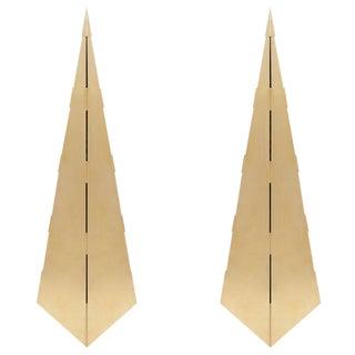 Gabriella Crespi Style Brass Obelisks - A Pair