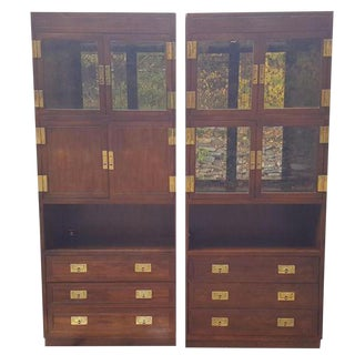 Henredon Campaign Curio Cabinets - A Pair