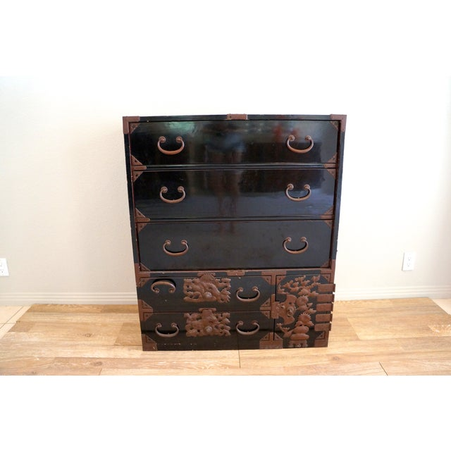 Vintage Black Lacquered Tansu Chest - Image 2 of 10