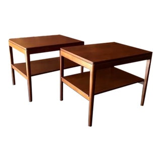 Refinished Walnut Kipp Stewart For Drexel Declaration Side Tables - A Pair