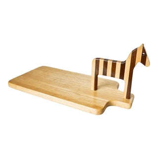 Wood Cutting Board with Horse